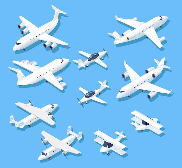 Isometric planes. private jet airplanes, aircraft and airliner. 3d aerial  set Premium Vector