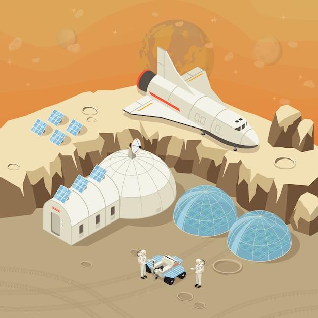 Изометрические концепция исследования и колонизации планеты Бесплатные векторы