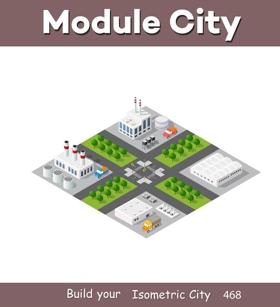 3d 차원 투영의 아이소 메트릭 플랜트에는 공장, 산업용 건물, 보일러, 창고, 격납고, 발전소, 거리, 도로, 나무가 포함됩니다. 도시 대도시의 도시 인프라. 프리미엄 벡터