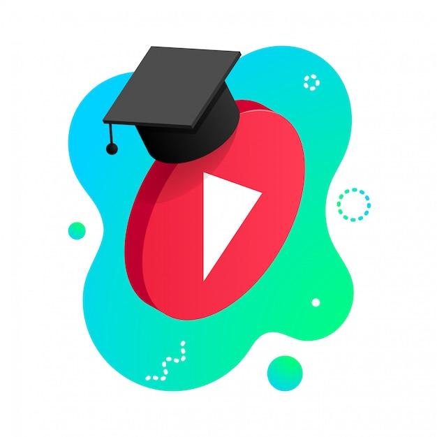 等尺性は、白い背景で隔離の卒業の帽子を持つビデオボタンを再生します。オンライン学習デザインコンセプト。流体形状の背景に遠隔教育ビデオプレーヤーアイコン。図 Premiumベクター