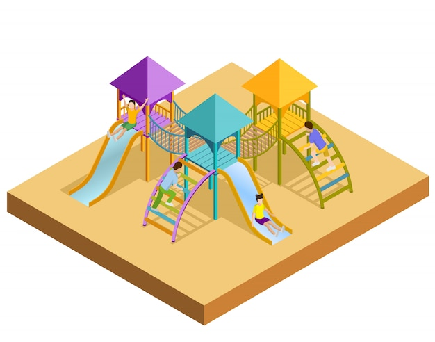 Isometric playground composition Free Vector
