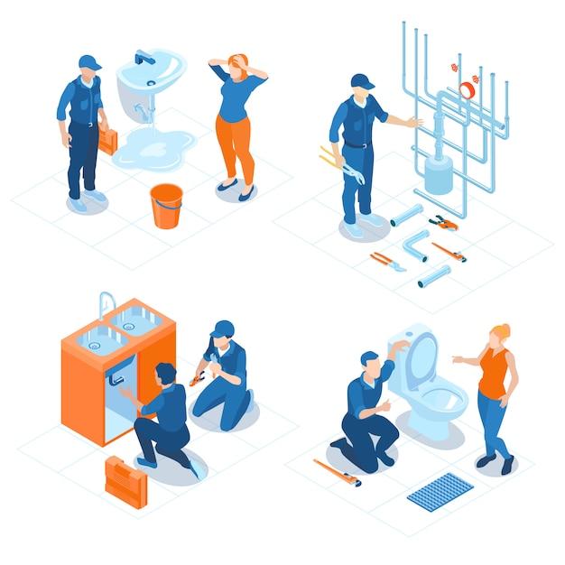 Servizio idraulico isometrico home office bagno impianti sanitari di fissaggio riparazione impianto riscaldamento caldaia Vettore gratuito