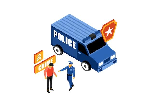 Isometric police catch a criminal Premium Vector