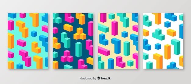 Isometric polygonal style brochure set Free Vector