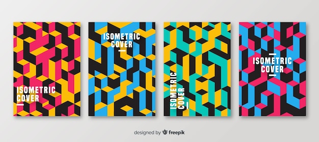 Isometric polygonal style brochure set Free Vector