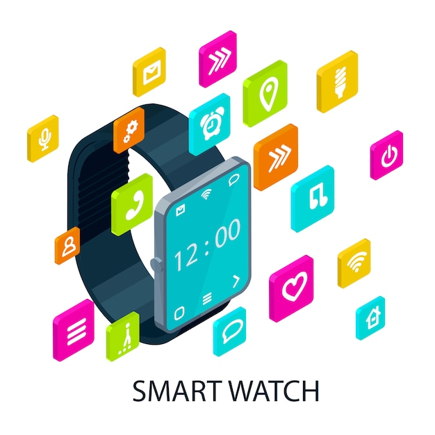Isometric portable smart watch concept Free Vector