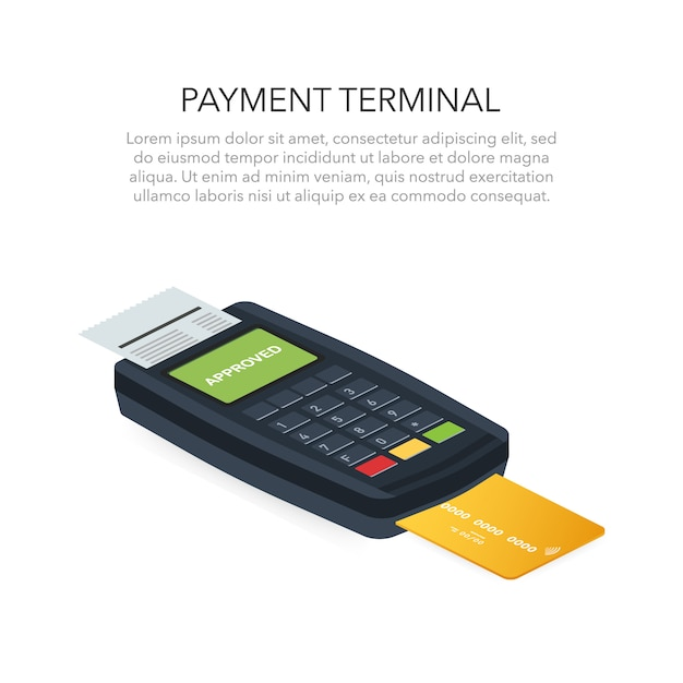 Isometric pos terminal confirms the payment by debit credit card. vector illustration Premium Vector