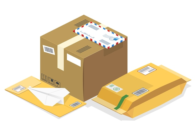 Isometric postal parcels, mails Free Vector