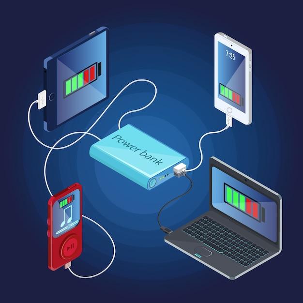 等尺性電源銀行充電器のコンセプト Premiumベクター
