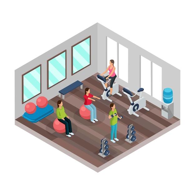 고립 된 체육관에서 다른 스포츠 운동을하는 임산부와 아이소 메트릭 임신 및 피트니스 개념 무료 벡터