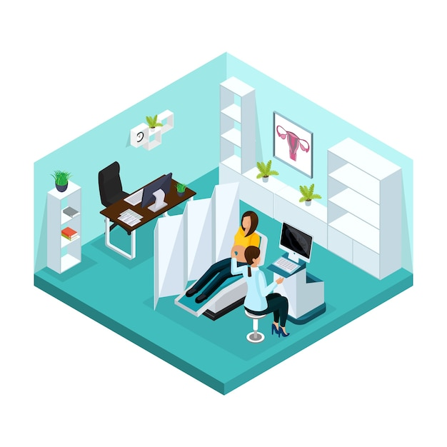 Isometric pregnancy medical examination concept with pregnant woman visiting doctor for ultrasound scan in hospital isolated Free Vector