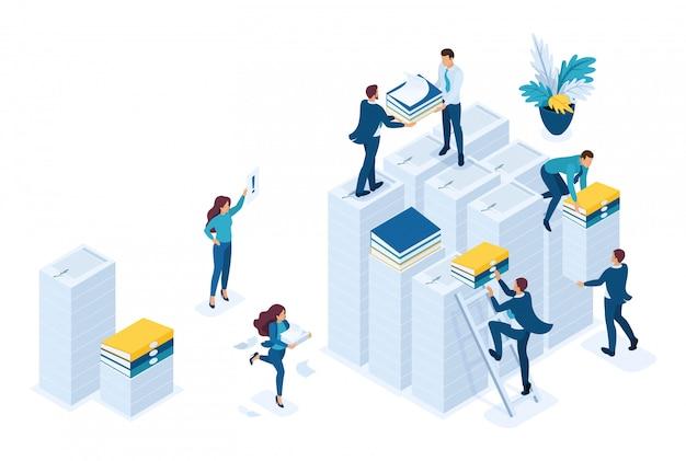 Изометрические подготовка налоговых отчетов, налоговые агенты проверяют документы. Premium векторы