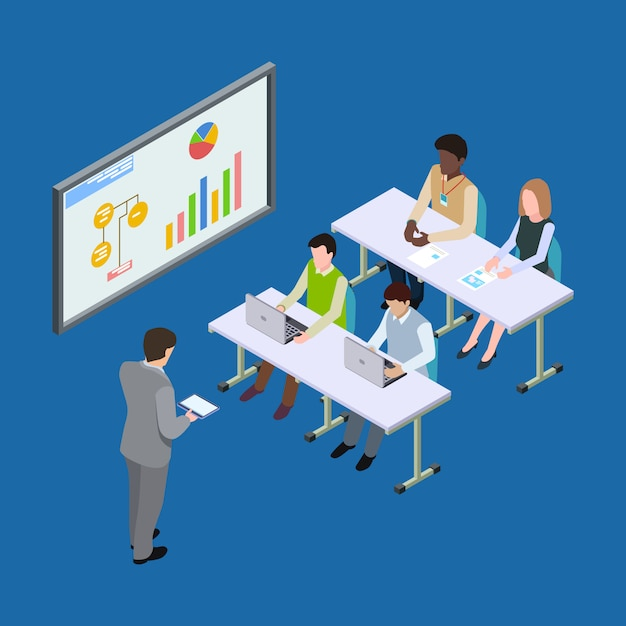 Isometric presentation at the economic forum, economics lesson or business conference illustration Premium Vector