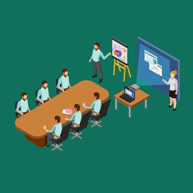 Concetto di sala di presentazione isometrica Vettore gratuito