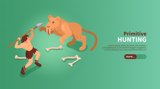 Isometric primitive people caveman banner with text slider button images of human and sabre toothed tiger  illustration Free Vector
