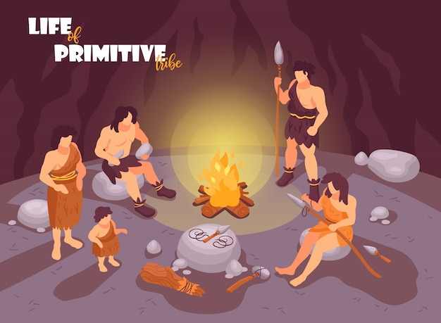 Isometric primitive people caveman composition with cave scenery bonfire and human characters of tribe family members  illustration Free Vector