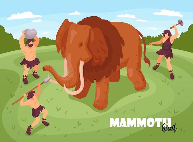 マンモスと古代の人々のイラストのテキストと画像と等尺性原始人穴居人狩猟背景組成 無料ベクター