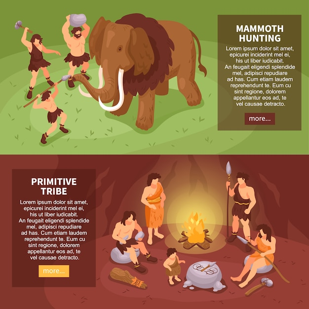 Isometric primitive people caveman set of two horizontal banners with more button text and human characters  illustration Free Vector