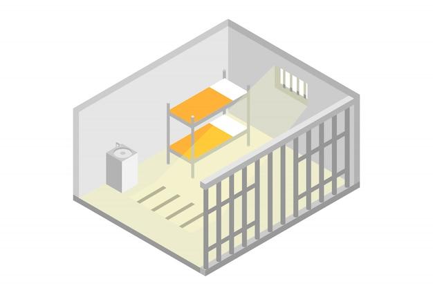等尺性刑務所の独房。刑務所、投獄のコンセプト。ベクトルイラスト Premiumベクター