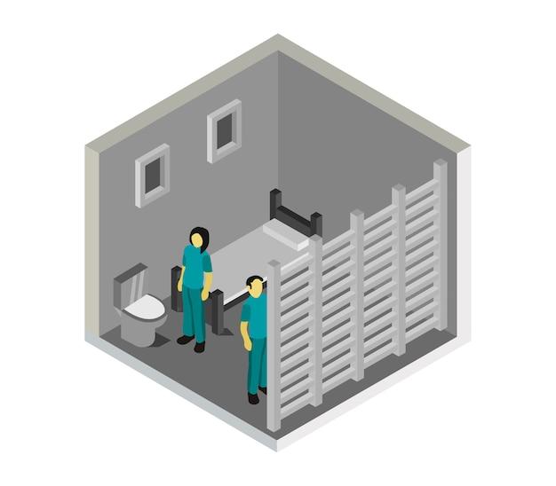 Изометрическая тюремная комната Бесплатные векторы