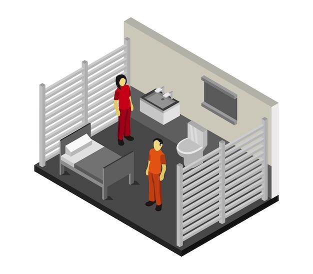 Изометрическая тюремная комната Premium векторы