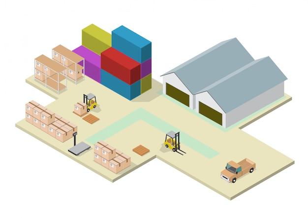Isometric process of the warehouse Premium Vector