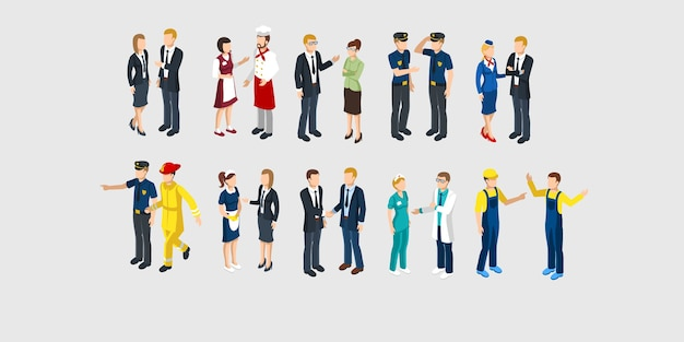 Isometric profession characters set Free Vector