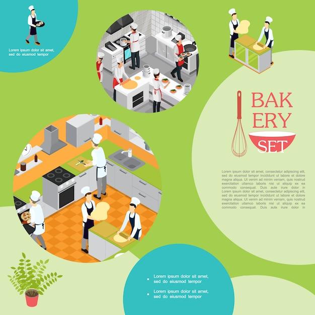 Профессиональная изометрическая кулинария в пекарной композиции с официантами и помощниками, готовящими разные блюда Бесплатные векторы
