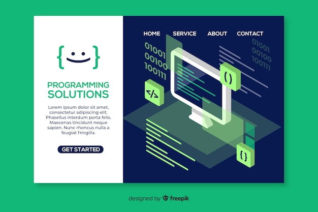 Isometric programming landing page template Free Vector