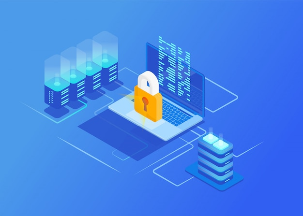 Isometric protection network security concepts. laptop with data and protection against hacker attacks. cyber security. Premium Vector