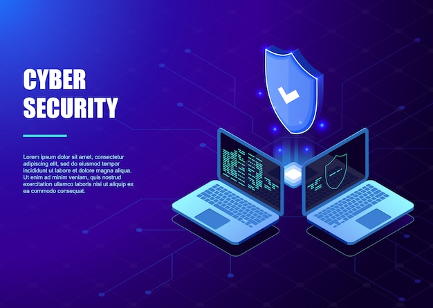 Isometric protection network security and safe your data template Premium Vector