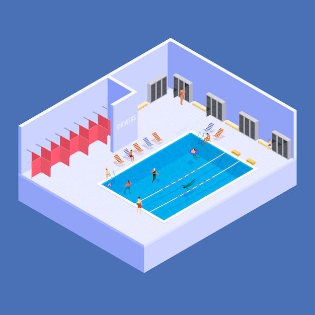 Isometric public swimming pool Free Vector