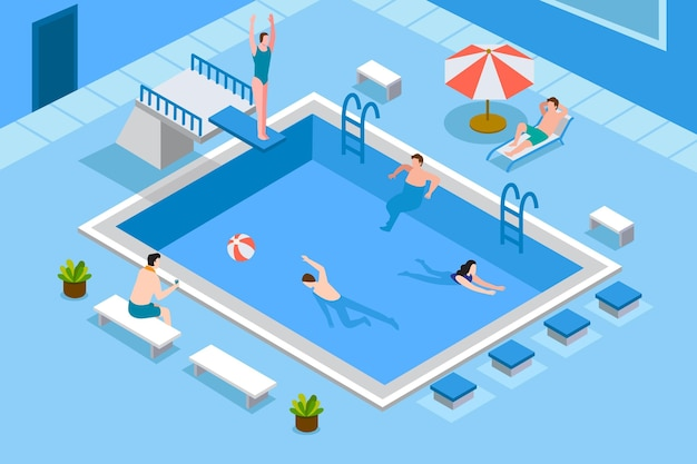 Isometric public swimming pool Premium Vector
