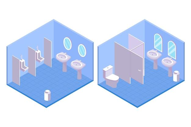 男性と女性のイラストの等尺性公衆トイレ 無料ベクター