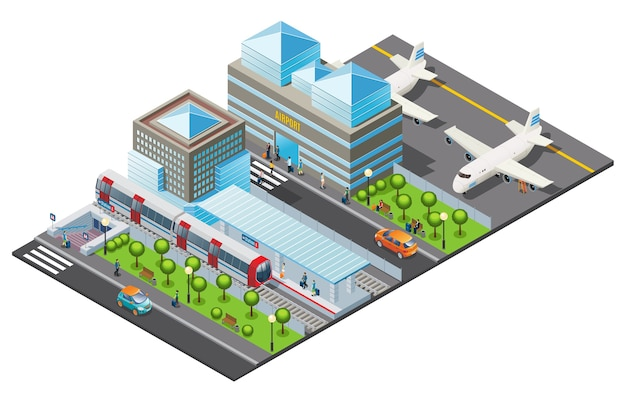Isometric public transport template Free Vector