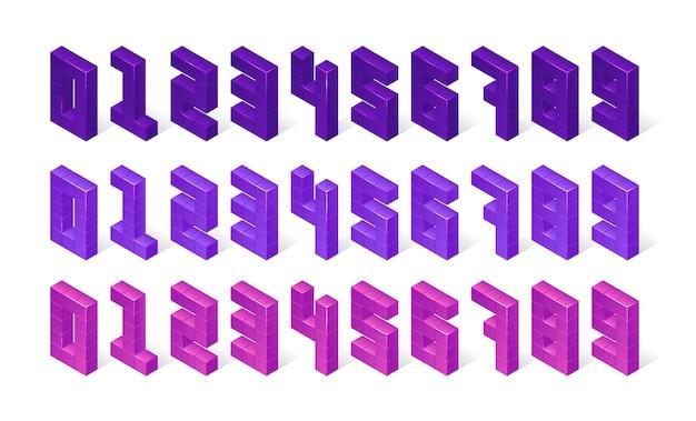 Numeri viola isometrici fatti di cubi 3d Vettore gratuito
