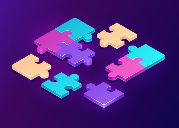 Isometric puzzle pieces on purple background Free Vector