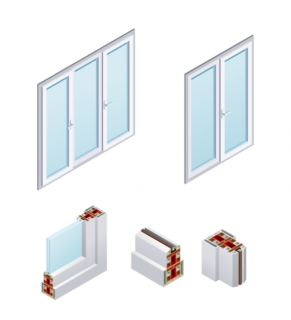 Isometric pvc windows and frame elements Free Vector