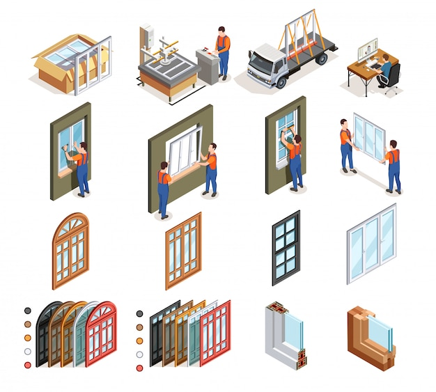 Isometric pvc windows production Free Vector