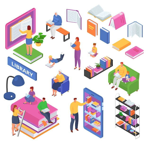 Isometric reading book concept of learning, read books in the library, classroom, education    illustrations set. readers in university, students, open and closed textbooks, bookshelf. Premium Vector