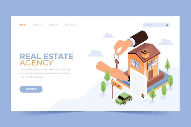 Pagina di destinazione immobiliare isometrica Vettore gratuito