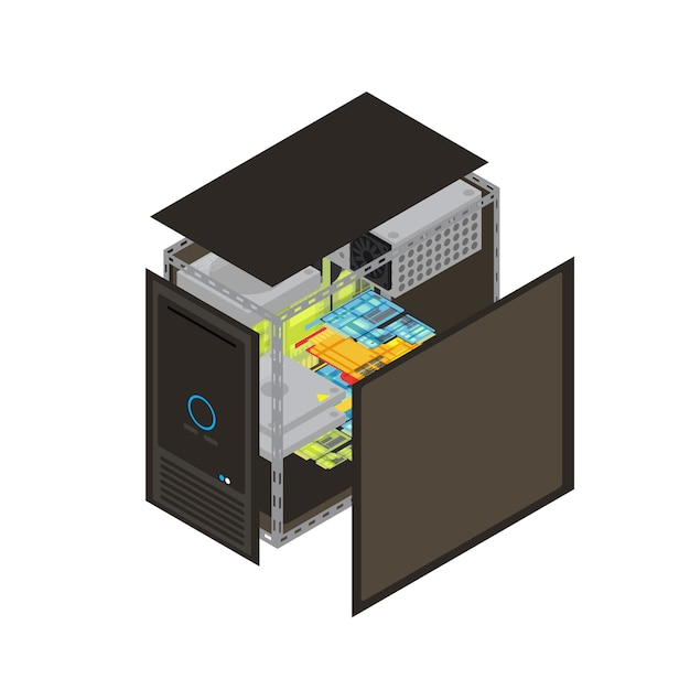 Isometric realistic processor scheme with walls removed to show that the inside vector illustration Premium Vector