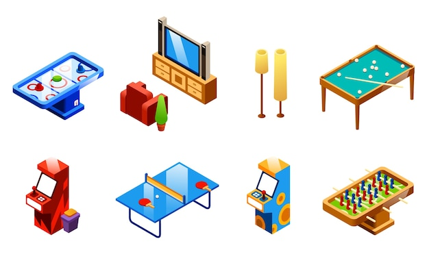 Isometric recreation room entertainments and\ amusements set. Table tennis or ping-pong