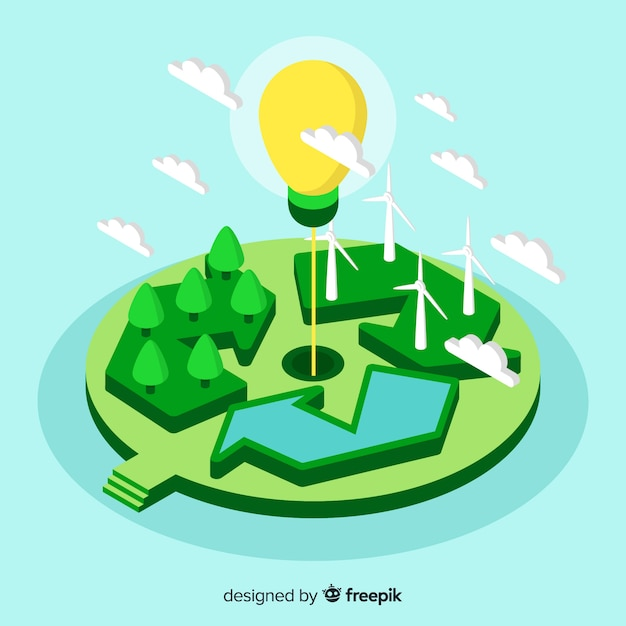 Isometric recycle sign and lightbulb Free Vector
