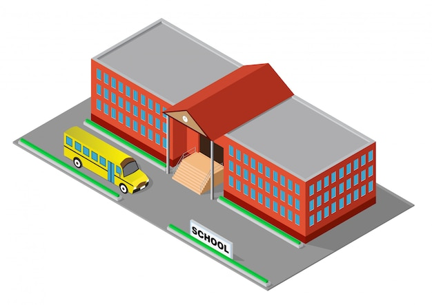 Isometric red school building with school bus Premium Vector