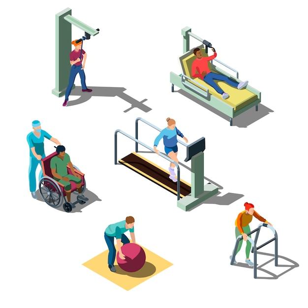 人間性を備えた等尺性リハビリテーション診療所。筋骨格系に問題のある人は、理学療法の練習をします。回復および治療プログラムの患者。 無料ベクター