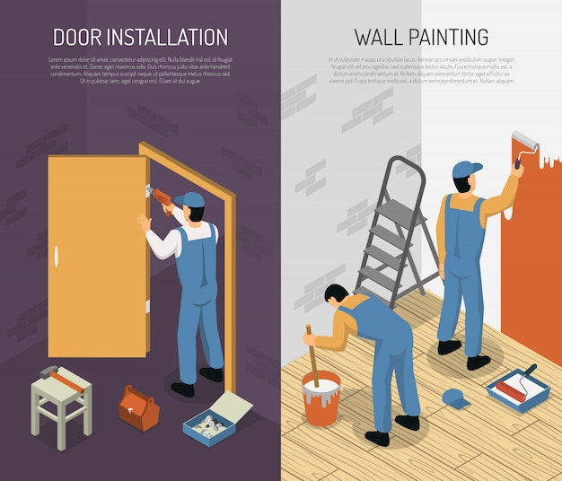 Isometric renovation banners Free Vector