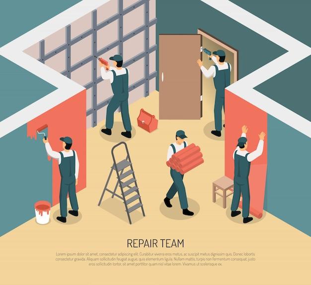 Isometric renovation illustration Free Vector