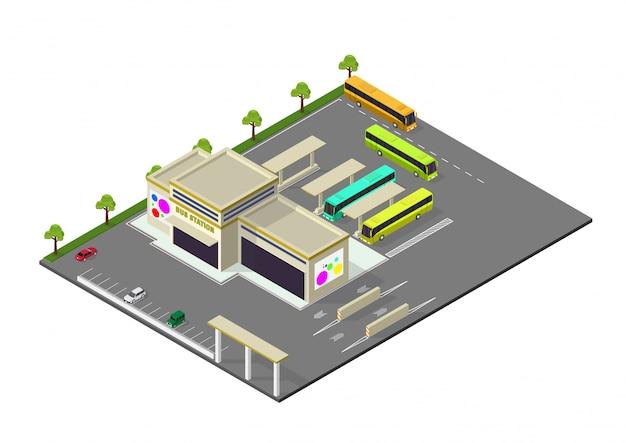 Изометрические представления автовокзала Premium векторы