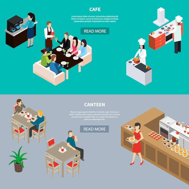 Isometric restaurant banner collection Free Vector